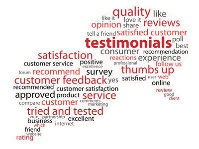 TESTIMONIALS Tag Cloud (customer satisfaction feedback)